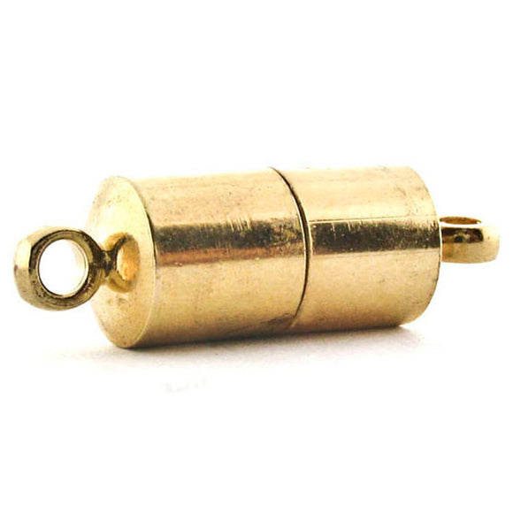 6mm Loop End Barrel Magnetic Clasp Set Of 10 Gold Plated MC18