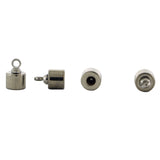 6mm Loop End Barrel Magnetic Clasp Set Of 10 Silver Plated MC19