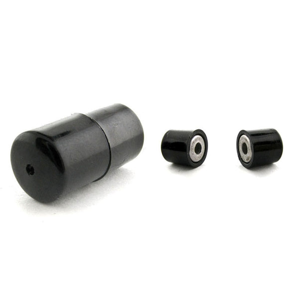 8mm Barrel Magnetic Clasp Set Of 10 Black Plastic Coated MC22