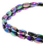 6X12mm Magnetic Hematite Twist With Rainbow Center MH63