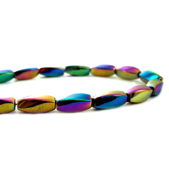 5X12mm Magnetic Hematite Rainbow Twist Mh36