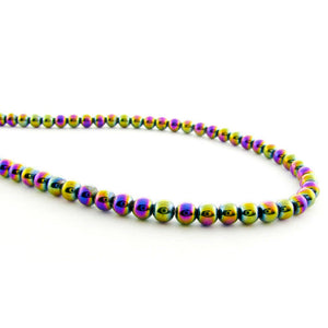 4mm Magnetic Hematite Rainbow Round Mh46