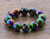 6mm Magnetic Hematite Rainbow Round Mh47