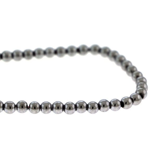 6mm Magnetic Hematite Round Silverplate Mh57
