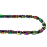 6X12mm Magnetic Hematite Rice With Rainbow Striped Center Mh62