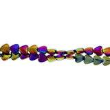 6mm Rainbow puffed heart magnetic hematite MH81