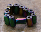 5x8mm Faceted Rainbow Tube Magnetic Hematite MH84