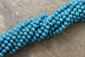 6mm Magnetic Marble Round  Turquoise MM04