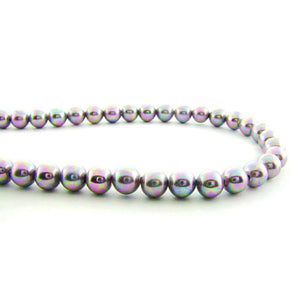 6mm Magnetic Pearl Pewter Rainbow Round MP42