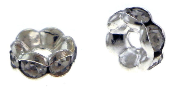 6mm Spacer Silverplate Crystal Rondelles SPC03 - Mi Amore