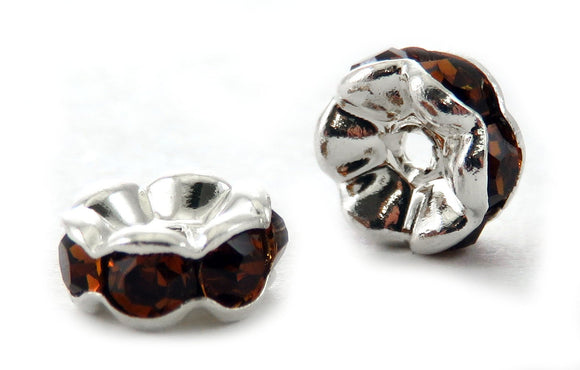 6mm Spacer Silverplate Topaz Crystal Rondelle SPC09 - Mi Amore