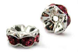 6mm Spacer Silverplate Rose Crystal Rondelle SPC10 - Mi Amore