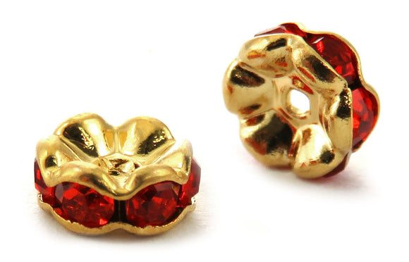 6mm Spacer Goldplate Red Crystal Rondelle SPC13 - Mi Amore