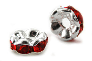6mm Spacer Silverplate Red Crystal Rondelle SPC14 - Mi Amore
