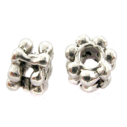 4mm Metal Spacer Silverplate Wide Daisy SPMT11