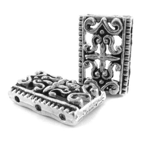 Metal Spacer Pewter 3 Hole Rectangle Design SPMT16