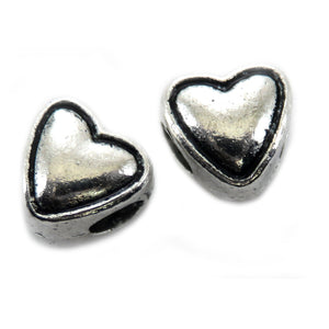 Metal Spacer Heart Shaped With 4mm Hole SPMT24