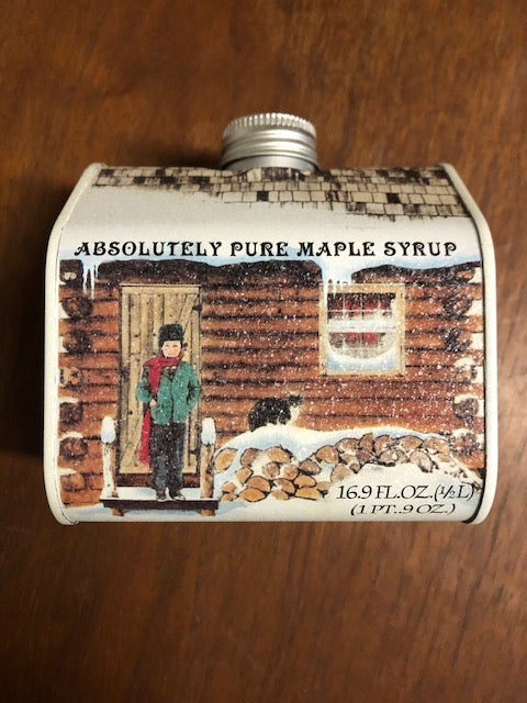 Pure Maple Syrup Log Cabin Tin 16.9 oz