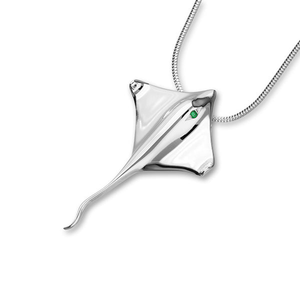 Ray Silver Green CZ Pendant FCP 1