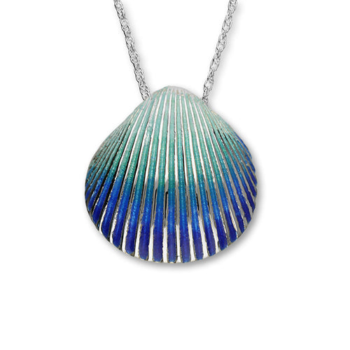 Cockle Shell Large Enamelled Silver Pendant FEP 9