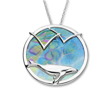 Humpback Whale Silver Glass Pendant FP 38 - P
