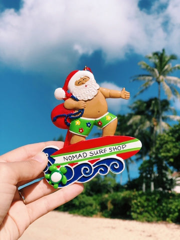 Nomad Surfing Santa Christmas Ornament
