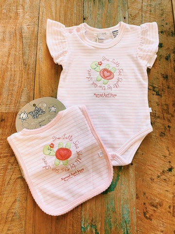 Nomad Baby Girl Sea Shells Turtle Romper