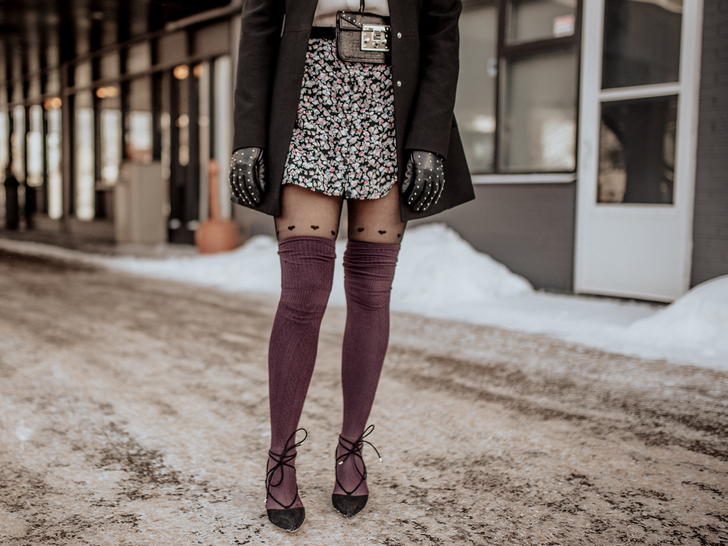 3 Ways to Wear Plum Thigh-High Socks