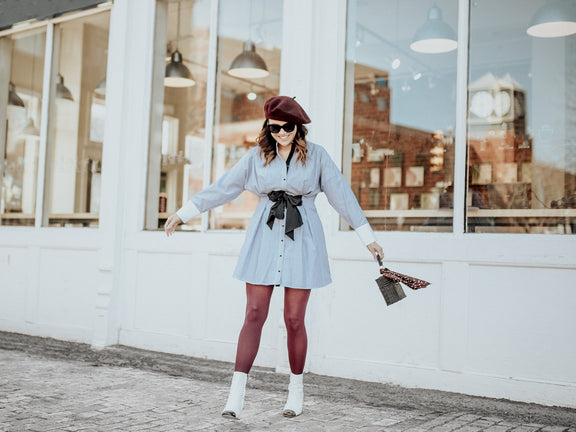 How to Style Burgundy Tights for Spring