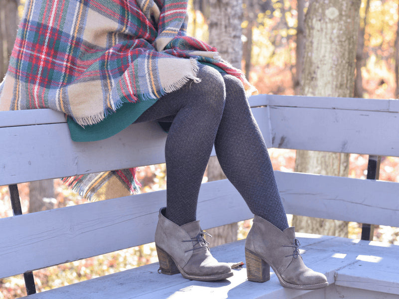 Cotton tights for cold weather with a green skirt.