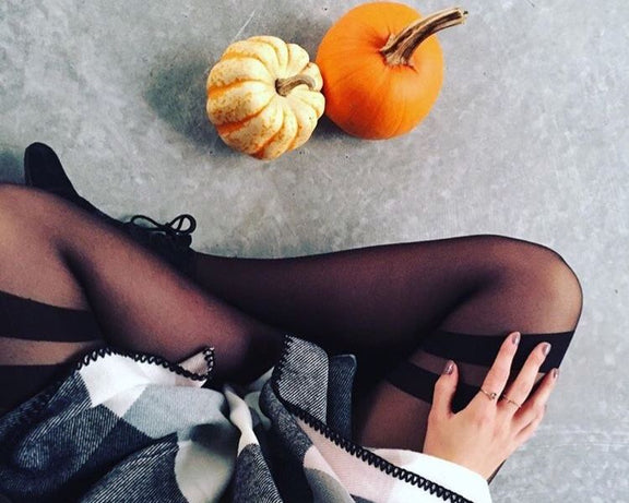 Tights with thigh stripes for fall.