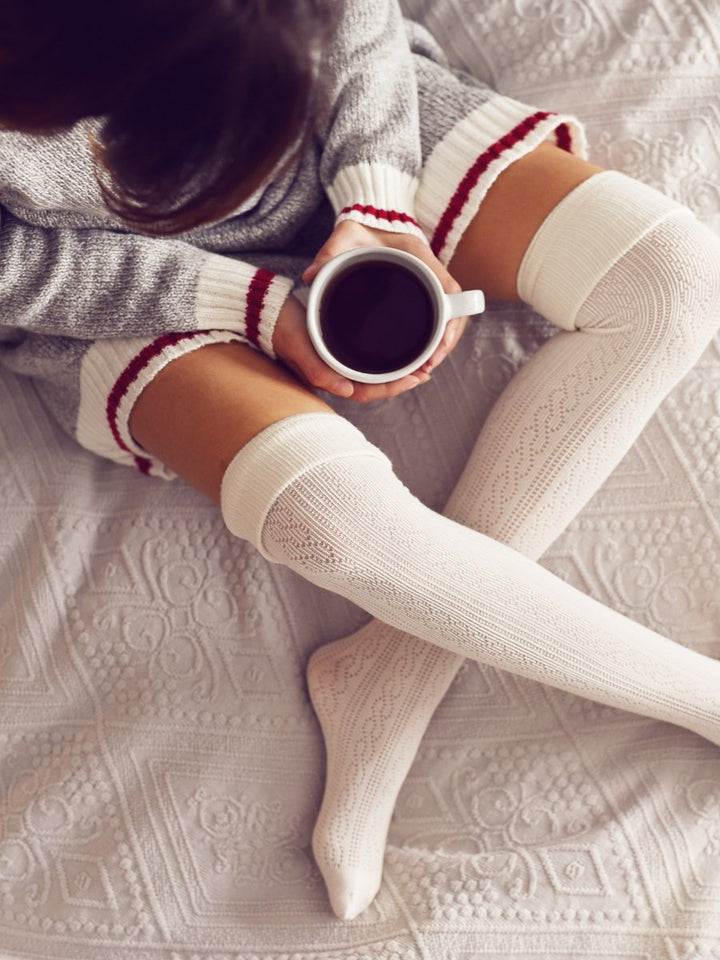 Off White Knitted Thigh-High Socks