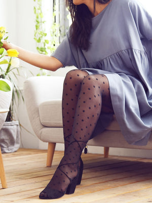 large polka dots tights with blue dress - collant gros pois avec robe bleue