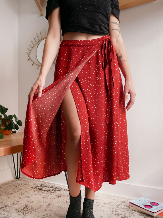 Rust Polka Dot Midi Wrap Skirt