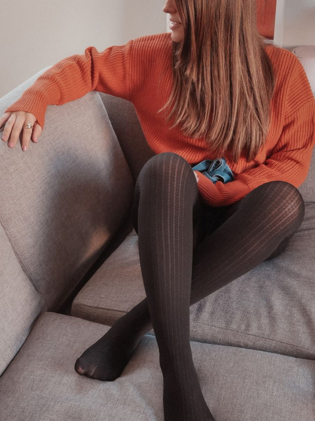 Warm Black Weave Tights