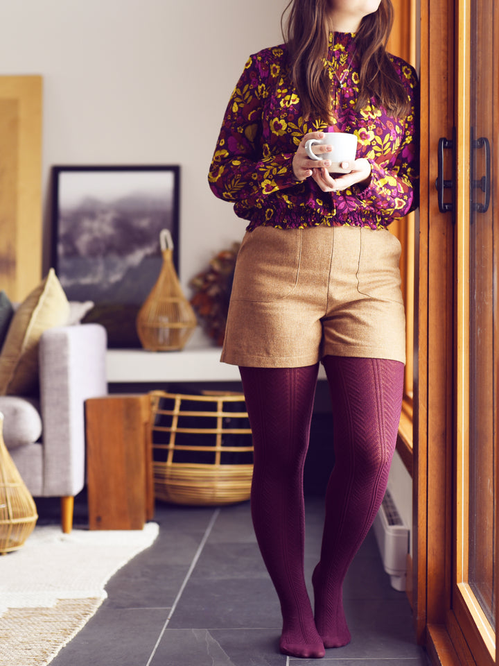 Warm Burgundy Chevron Tights