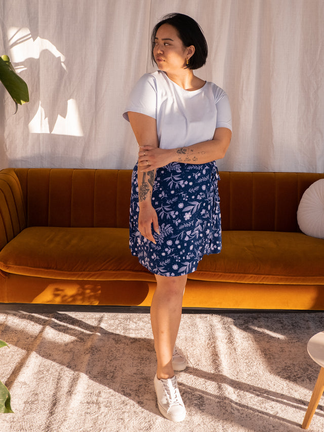 Eco Mini Wrap Skirt (Navy)