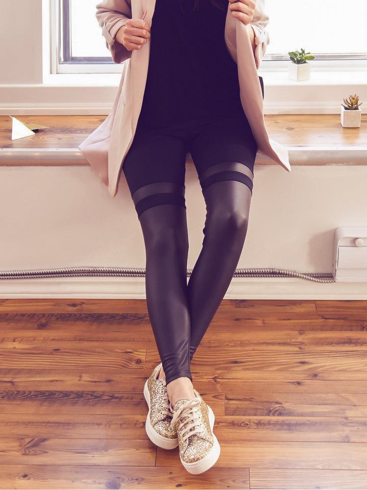 Faux Leather Stripe Leggings