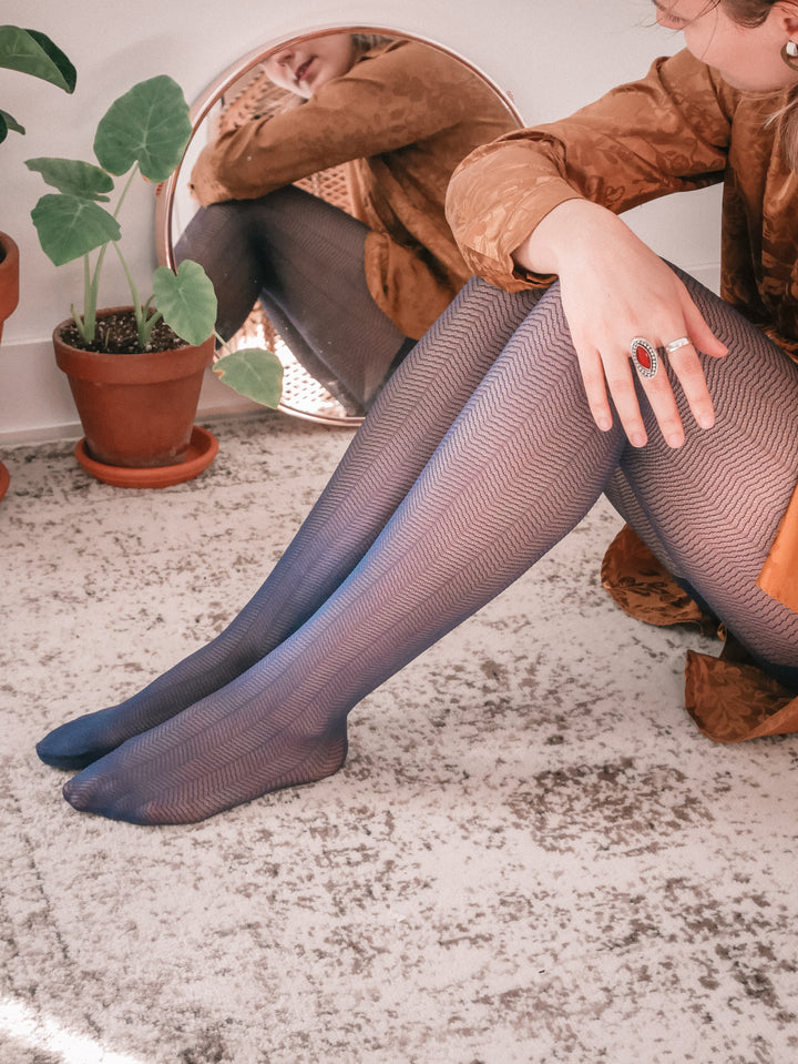 Navy Semi-Sheer Chevron Tights