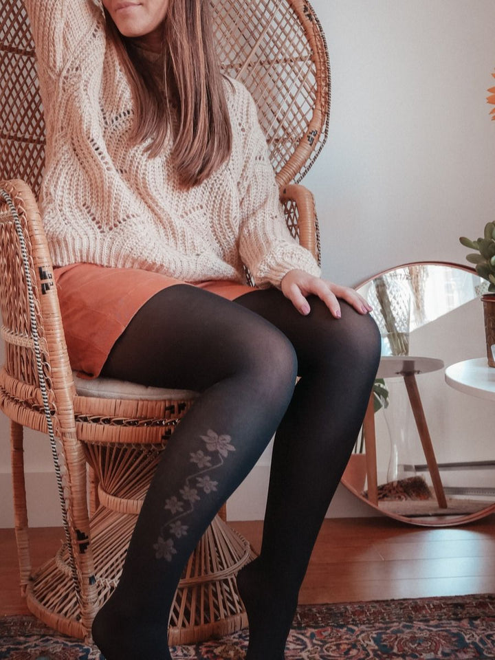 Opaque Floral Side Print Tights