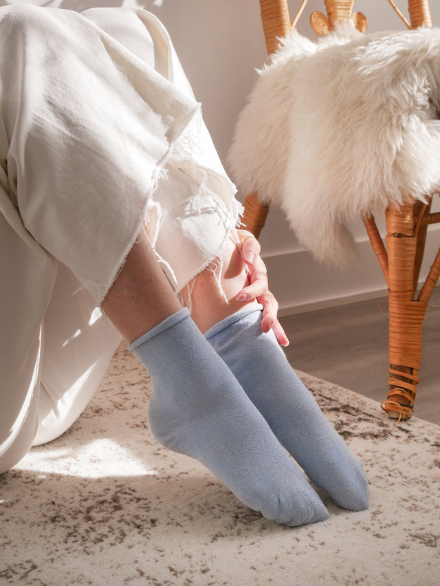 Blue Glitter Ankle Socks