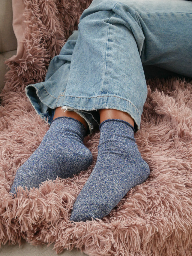 Navy Glitter Ankle Socks