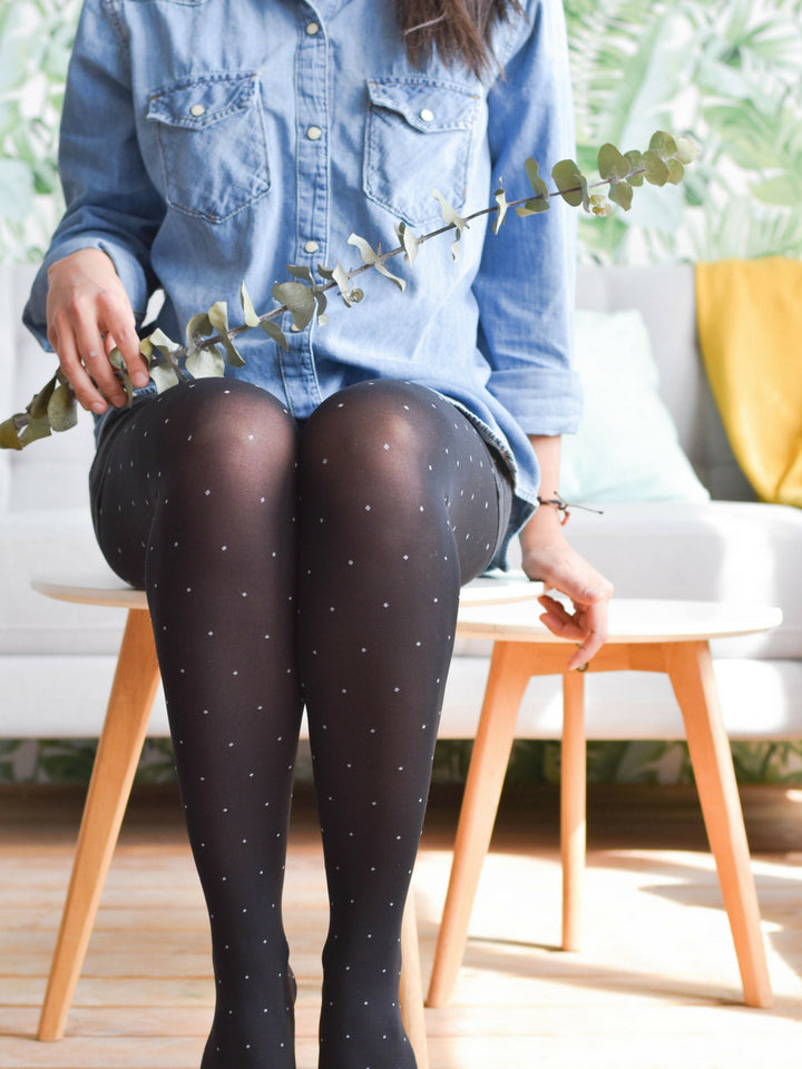 Black Tights with White Polka Dots