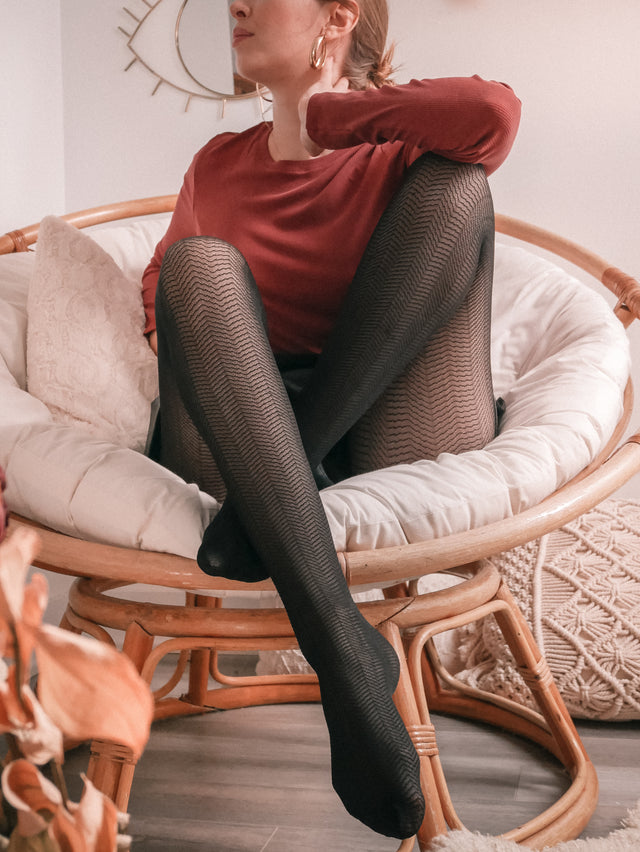 Semi-Sheer Chevron Tights