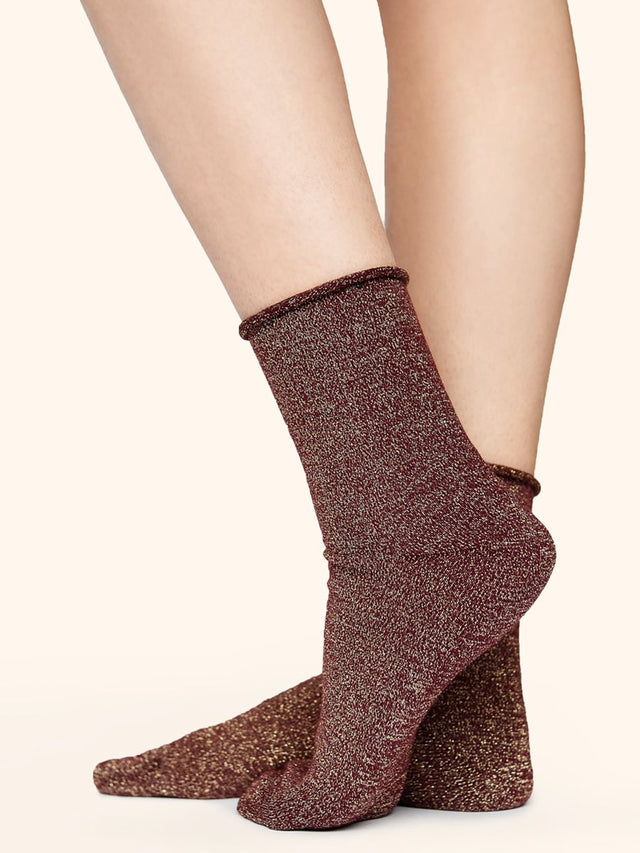 Burgundy Glitter Ankle Socks