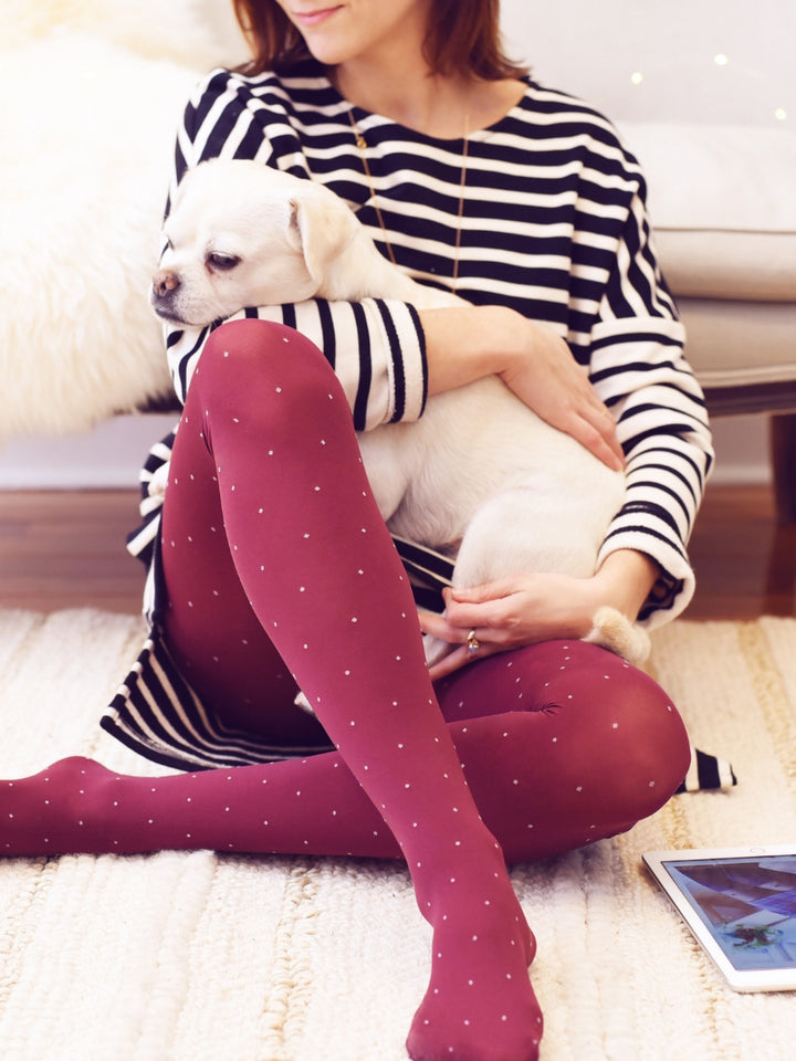 Burgundy Polka Dot Tights