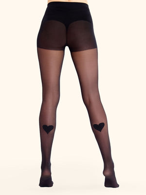 Tights with Back Heart Print - collant avec coeur au mollet