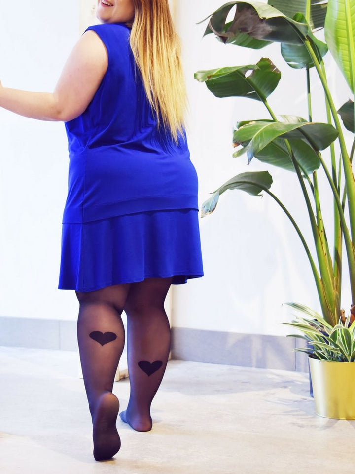 af2208a4446 Tights with Back Heart Print (plus size) with blue dress - Collant avec  coeur