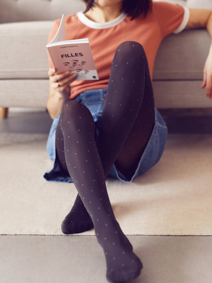 Grey Pink Polka Dot Tights
