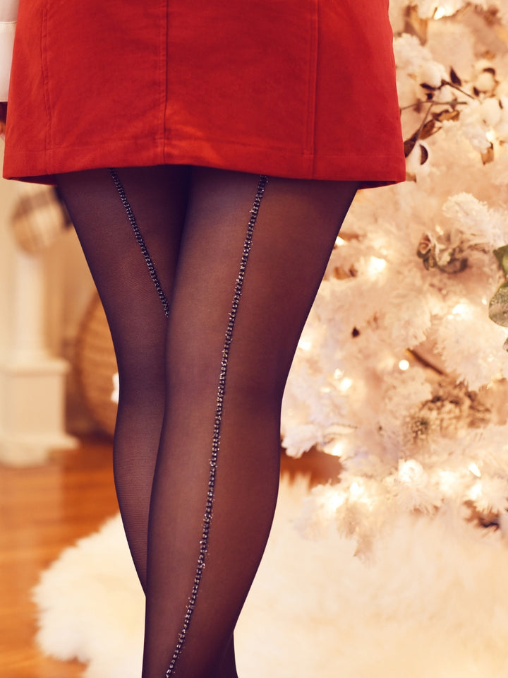 Glitter Back Seam Tights